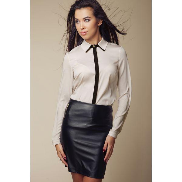 3aadd333e2c3d6 Elegancka Koszula z Kontrastową Lamówką - Beżowy - Koszule damskie ...
