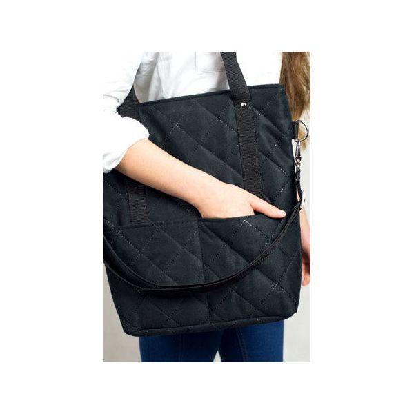 ee2265b3eead Czarna torba z pikowanego zamszu w kształcie prostokąta na ramię A4 ...