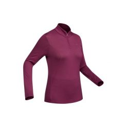 Koszulka trekkingowa długi rękaw TechWOOL 190 suwak damska. Fioletowe t-shirty damskie QUECHUA, z wełny. Za 149.99 zł.