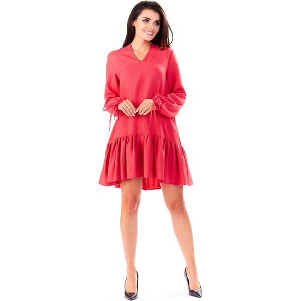 d5575b49a4 Różowa Sukienka z Dekoltem V z Falbanką na Dole - Sukienki damskie ...