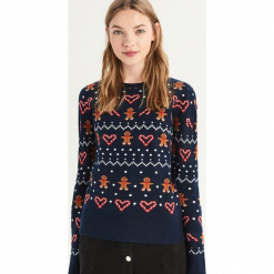 Sweter ze świątecznym wzorem - Granatowy. Niebieskie swetry damskie Sinsay. Za 59.99 zł.