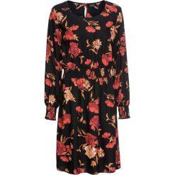 Sukienka boho z nadrukiem: MUST HAVE bonprix czarny w kwiaty. Czarne sukienki damskie bonprix, w kwiaty, boho, z okrągłym kołnierzem. Za 99.99 zł.