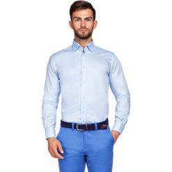 Koszula Niebieska Miramar 2. Niebieskie koszule męskie LANCERTO, z haftami, z bawełny, z kontrastowym kołnierzykiem. Za 299.90 zł.