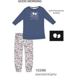 Piżama dziewczęca DR 103/89 Good morning Jeansowa r. 140. Szare bielizna dla dziewczynek Cornette, z jeansu. Za 61.67 zł.