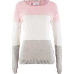 Sweter bonprix pastelowy jasnoróżowy w paski. Czerwone swetry damskie bonprix. Za 74.99 zł.