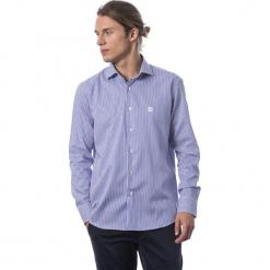 Koszula w kolorze niebiesko-białym. Białe koszule męskie Roberto Cavalli, Trussardi, w paski, z klasycznym kołnierzykiem. W wyprzedaży za 329.95 zł.