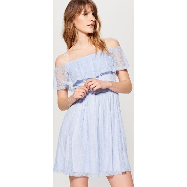 1d8b61d2ab Koronkowa sukienka hiszpanka - Niebieski - Sukienki damskie marki ...