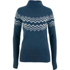 Sweter bonprix ciemnoniebiesko-biel wełny. Swetry damskie marki bonprix. Za 69.99 zł.