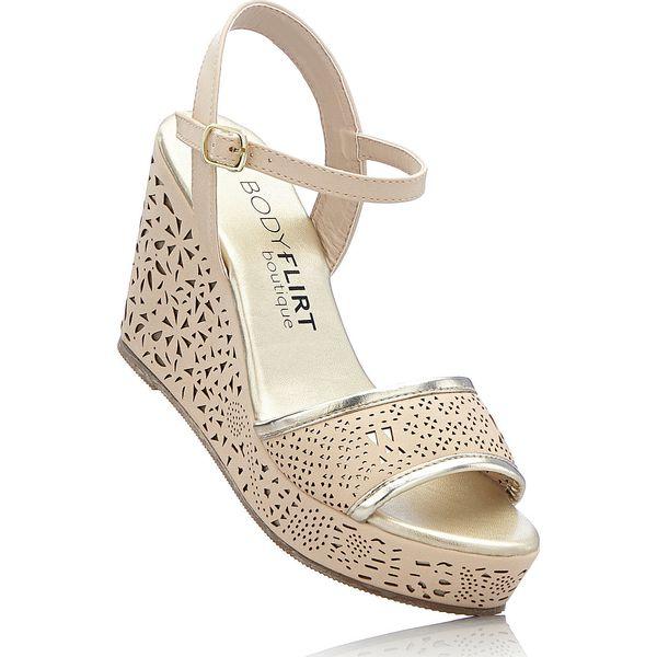 9df1aa53 Sandały na koturnie bonprix beżowy - Brązowe sandały damskie bonprix ...