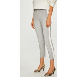 Answear - Spodnie. Szare spodnie materiałowe damskie ANSWEAR, z haftami, z elastanu. W wyprzedaży za 99.90 zł.