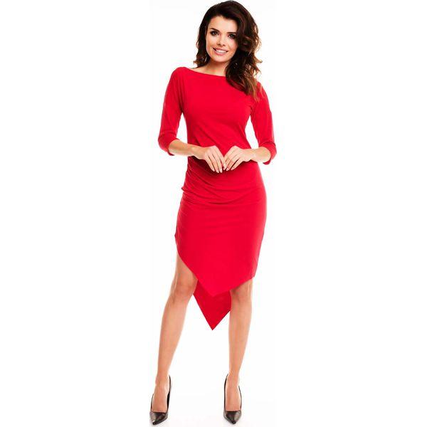 431beb852d Czerwona Sukienka Asymetryczna Drapowana w Talii - Sukienki damskie ...