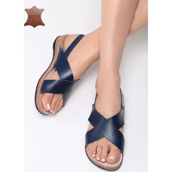3c54d9dcc76ee1 Niebieskie Skórzane Sandały Sweet and Funny - Niebieskie sandały ...