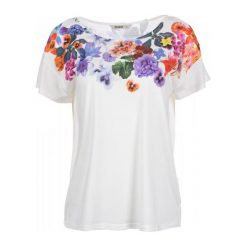 Desigual Desigual T-Shirt Damski M Biały. Białe t-shirty damskie Desigual, w kolorowe wzory. W wyprzedaży za 169.00 zł.