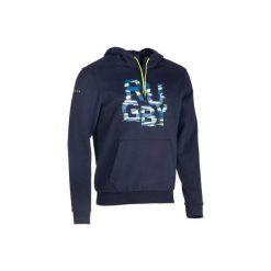 Bluza z kapturem rugby Hoodie męska. Niebieskie bluzy męskie KIPSTA, z bawełny. Za 109.99 zł.