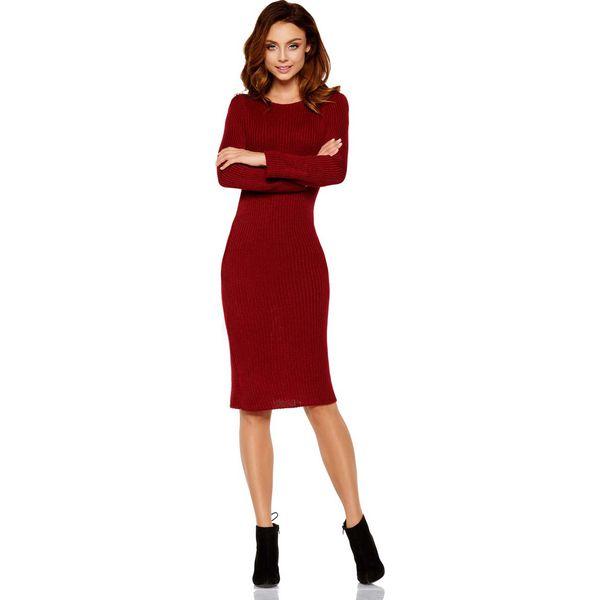 a1a9a3d77ec918 Bordowa Dopasowana Sukienka Swetrowa - Czerwone sukienki damskie ...
