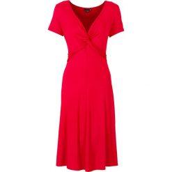 Sukienka dżersejowa bonprix ciemnoczerwony. Czerwone sukienki damskie bonprix, z dżerseju, z dekoltem w serek. Za 89.99 zł.