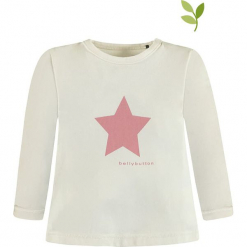 Koszulka w kolorze białym. Białe bluzki dla dziewczynek bellybutton, z nadrukiem, z bawełny, z okrągłym kołnierzem, z długim rękawem. W wyprzedaży za 32.95 zł.