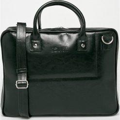 Solier - Torba skórzana. Czarne torby na laptopa męskie Solier, w paski, z materiału. Za 499.90 zł.