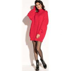 Czerwona Swetrowa Mini Sukienka z Półgolfem. Czerwone sukienki damskie Molly.pl, na jesień, z dzianiny. Za 139.90 zł.