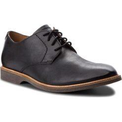 Półbuty CLARKS - Atticus Lace 261361557 Black Leather. Czarne eleganckie półbuty Clarks, z materiału. W wyprzedaży za 319.00 zł.