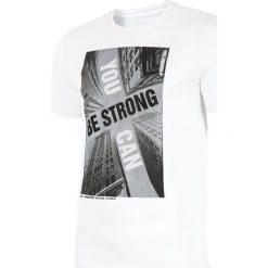 T-shirt męski TSM022 - biały. Białe t-shirty męskie 4f, na lato, z nadrukiem, z bawełny. W wyprzedaży za 49.99 zł.