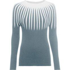 Sweter dzianinowy w paski bonprix srebrnoszaro-biały. Białe swetry damskie bonprix, z dzianiny, ze stójką. Za 119.99 zł.
