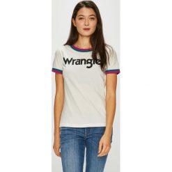 Wrangler - Top. Szare topy damskie Wrangler, z nadrukiem, z bawełny, z okrągłym kołnierzem, z krótkim rękawem. Za 99.90 zł.