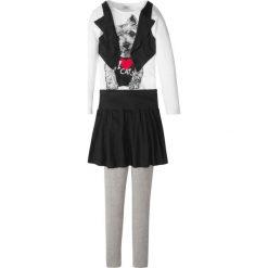 Shirt z kamizelką + spódnica + legginsy (3 części) bonprix jasnoszary melanż - biało-czarny. Legginsy dla dziewczynek marki OROKS. Za 44.99 zł.