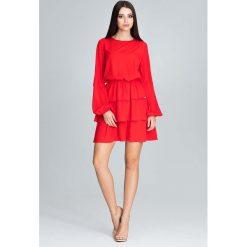 Czerwona Romantyczna Wyjściowa Sukienka z Długimi Bufiastymi Rękawami. Czerwone sukienki damskie Molly.pl, eleganckie, z falbankami, z długim rękawem. Za 172.90 zł.