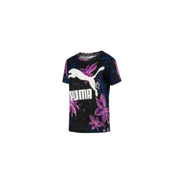 nowe przyloty szczegółowy wygląd stabilna jakość Puma Koszulka damska AOP Archive Logo Tee Cotton czarno fioletowa r. L  (573452 46)