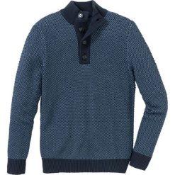 Sweter ze stójką z bawełny z recyclingu bonprix ciemnoniebiesko-niebieski dżins melanż. Swetry przez głowę męskie marki Giacomo Conti. Za 69.99 zł.