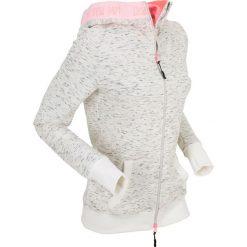 Bluza rozpinana z neonowymi elementami, długi rękaw bonprix biały melanż. Bluzy damskie bonprix, melanż. Za 89.99 zł.