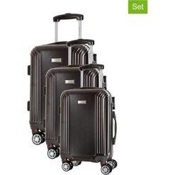 Zestaw walizek w kolorze antracytowym - 3 szt. Walizki męskie Platinium, z materiału. W wyprzedaży za 599.95 zł.