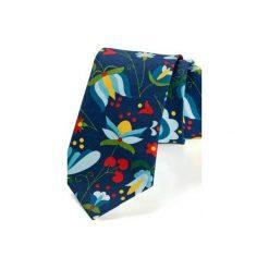 Krawat męski KASZUB ww wzór kaszubski biały. Niebieskie krawaty i muchy Hisoutfit, z materiału. Za 129.00 zł.