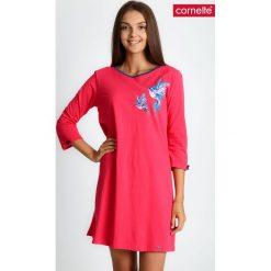 Koralowa piżama koszula nocna w ptaki QUIOSQUE. Pomarańczowe piżamy damskie QUIOSQUE, na jesień, w kolorowe wzory, z bawełny, z długim rękawem. Za 99.99 zł.
