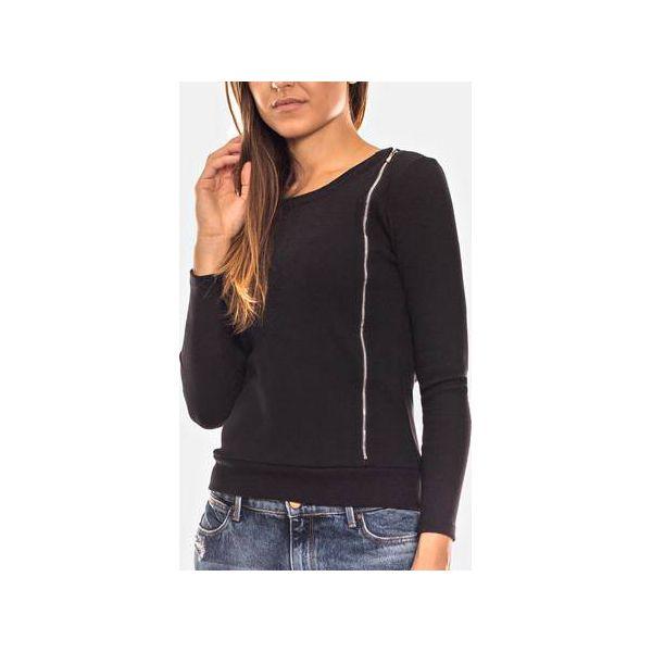bluza na zamek czarna ze sciagaczem damska