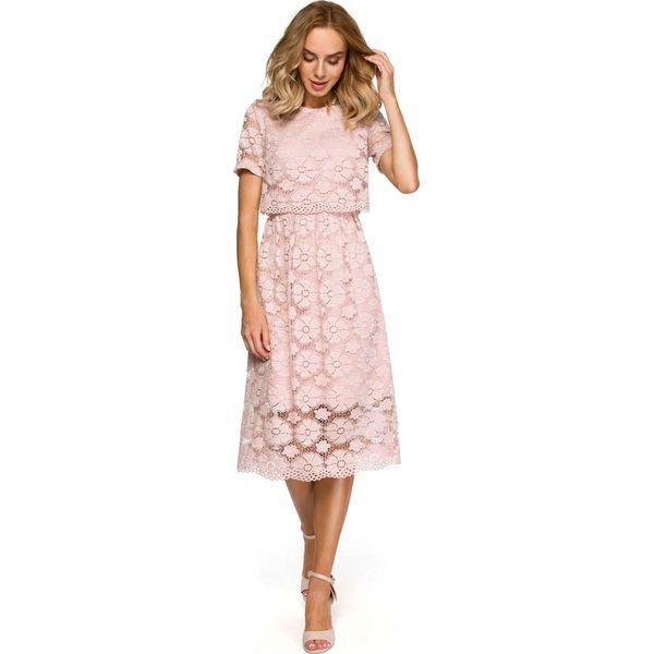 b9aac9871a Różowa Koronkowa Rozkloszowana Midi Sukienka z Krótkim Rękawem ...