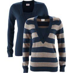 Sweter (2 szt. w opak.) bonprix ciemnoniebieski w paski + ciemnoniebieski. Swetry damskie marki KALENJI. Za 89.98 zł.