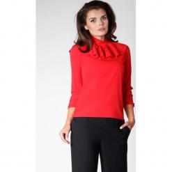 Czerwona Elegancka Bluzka na Stójce z Falbankami. Czerwone bluzki damskie Molly.pl, eleganckie, z falbankami, z długim rękawem. W wyprzedaży za 102.21 zł.