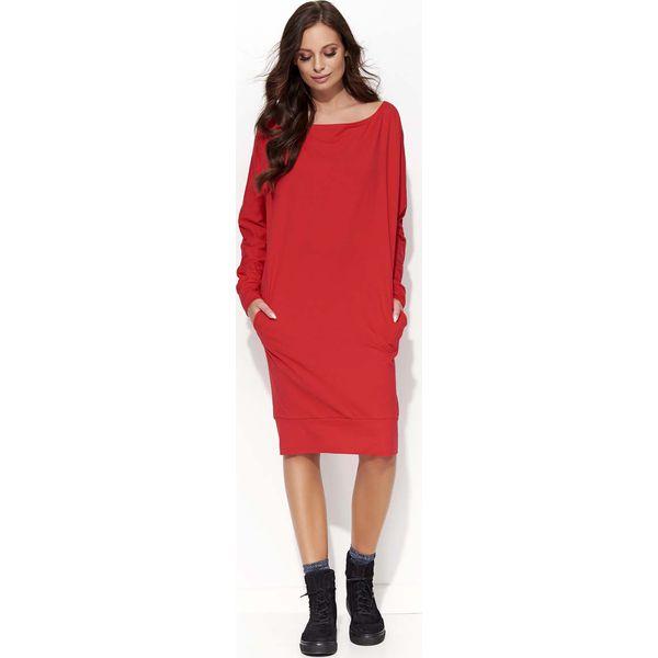 21a2a2627d Czerwona Sukienka Kimono za Kolano z Kieszeniami - Sukienki damskie ...
