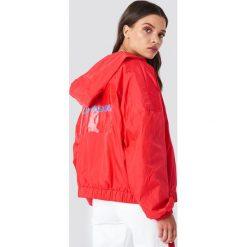 Calvin Klein Kurtka Hooded Zip Up Nylon Windbreaker - Red. Czerwone kurtki damskie Calvin Klein, z nadrukiem, z nylonu. Za 607.95 zł.