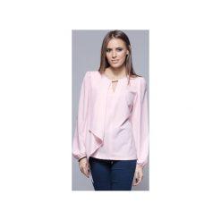 Zwiewna bluzka z asymetrycznym przodem różowa  H017. Szare bluzki damskie Harmony, biznesowe, z asymetrycznym kołnierzem, z długim rękawem. Za 134.00 zł.