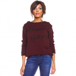 """Sweter """"New York"""" w kolorze bordowym. Czerwone swetry damskie So Cachemire, z kaszmiru, z dekoltem w łódkę. W wyprzedaży za 173.95 zł."""