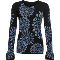 Sweter wzorzysty, długi rękaw bonprix czarny wzorzysty. Czarne swetry damskie bonprix. Za 139.99 zł.