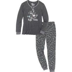 Piżama bonprix antracytowy melanż z nadrukiem. Szare piżamy damskie bonprix, melanż. Za 79.99 zł.