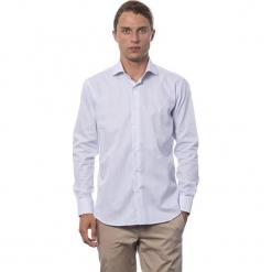 Koszula w kolorze białym ze wzorem. Białe koszule męskie Roberto Cavalli, Trussardi, w paski, z klasycznym kołnierzykiem. W wyprzedaży za 219.95 zł.