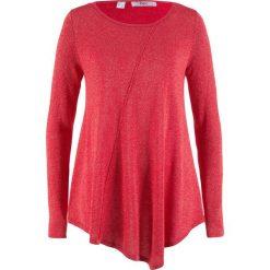 Sweter z błyszczącą nitką, długi rękaw bonprix czerwony - metaliczny srebrny. Swetry damskie marki bonprix. Za 89.99 zł.