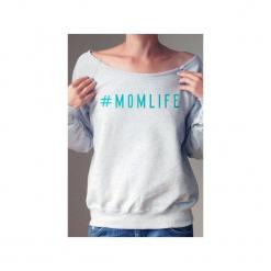 Momlife bluza dla karmiących matek. Czarne bluzy damskie One mug a day, z nadrukiem, z bawełny. Za 159.00 zł.