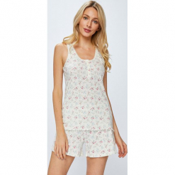 Lauren Ralph Lauren - Piżama. Szare piżamy damskie Lauren Ralph Lauren, z bawełny, z krótkim rękawem. W wyprzedaży za 229.90 zł.