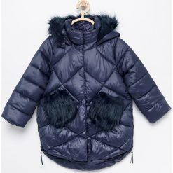 Pikowana ocieplana kurtka - Granatowy. Niebieskie kurtki i płaszcze dla dziewczynek Reserved. Za 139.99 zł.